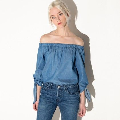 Chambray Sleeve Tie Off The Shoulder Top - Drama Queen