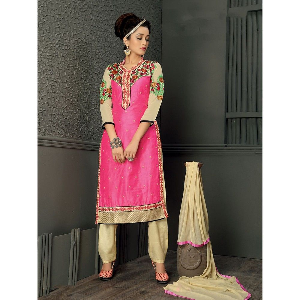 Pink And Beige Combination With Muti Embroidery Dress Material - Balloono