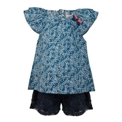 Ditsy Print Peasant Top With Bow Applique With Navy Lace Shorts -blue - Soul Fairy