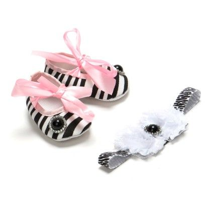 Zebra Print Bow Headband Combo With Black Pearl - Pikaboo