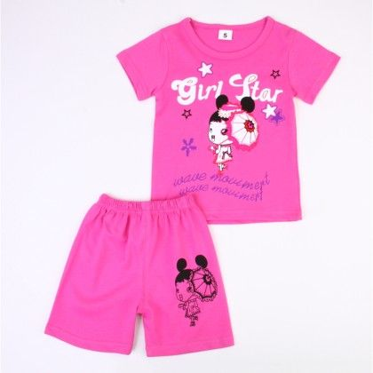 Girl Star Print Top And Shorts Set - Pink - Ton