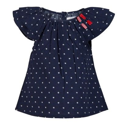 Polka Peasant Top With Bow Applique-navy - Soul Fairy