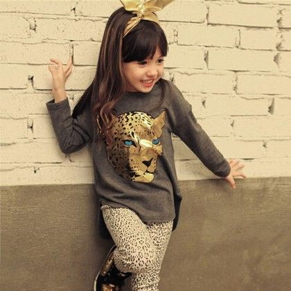 Cute Leopard Print Top And Legging Set - Gray - Vogue