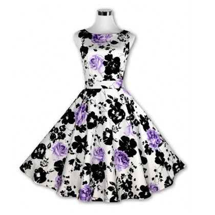 Purple Floral Flared Dress - STUPA FASHION