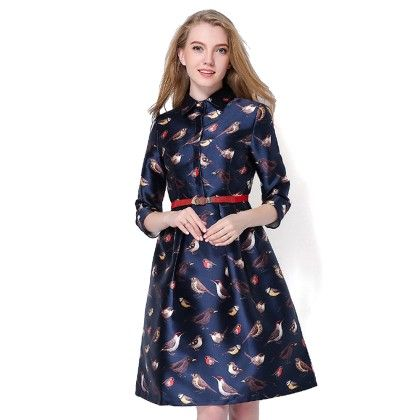 Spring Birds Print Casual Midi Dress - STUPA FASHION