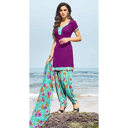 Purple With Multicolor Salwal And Dupatta Dress Material - Balloono