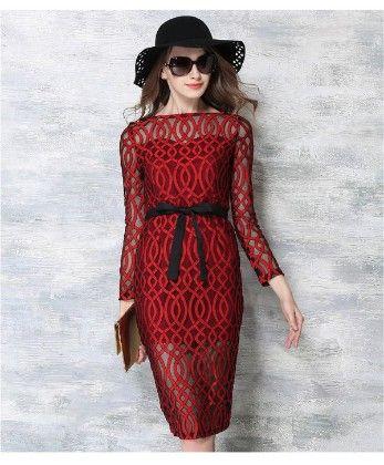 Elegant Red Brasso Dress - Mauve Collection