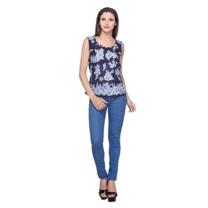 Indigo Cotton Printed Printed Top - Varanga