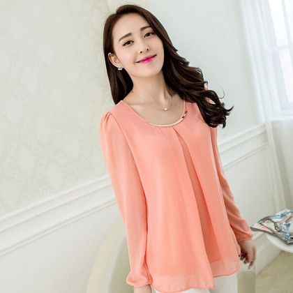 Peach Pleat Casual Top - STUPA FASHION