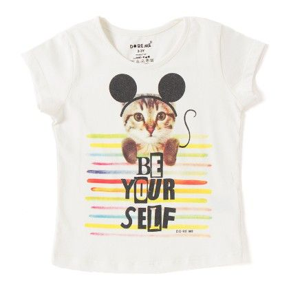 Cat With Headband Print White T-shirt - Do Re Me