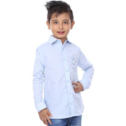 Full Sleeve Contrast Patch Pocket Shirt For Boys - BonOrganik