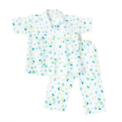 Cherry Print Night Suit - White & Blue - BownBee