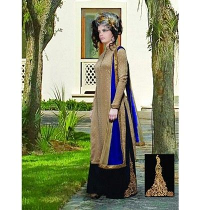 Gold And Blue Western Ethnic Dress Material - Balloono