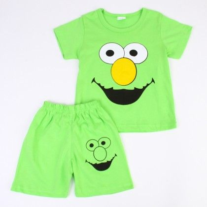 Happy Cartoon Print Top And Shorts Set - Green - Ton