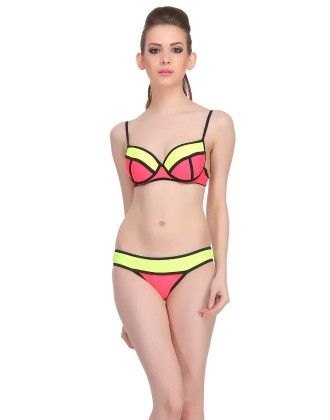 Clovia 2 Piece Polyamide Swimsuit Of Balconette Bra & Bikini In Red