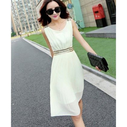White - Neck Pleated Dress - Dell's World