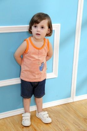 Cute Fish Print Top And Shorts Set - Orange - Mimiwinga