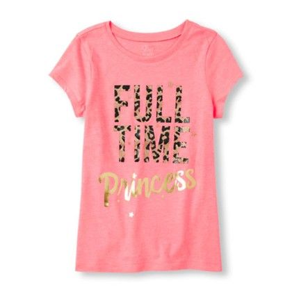 Girls Short Sleeve Full Time Princess Graphic Tee - The Children's Place