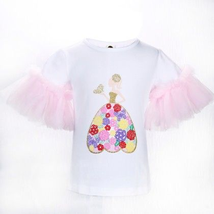 Cute White And Pink Girl Print Frilled Sleeves Top - Isabella By Princess