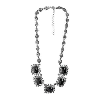 Silver Plated Black Stone Studded Neckpiece - Eternz