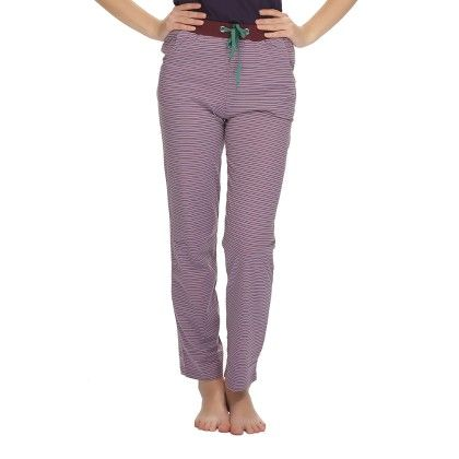 Comfy Printed Pajama With Contrast Waist Band Purple - Clovia