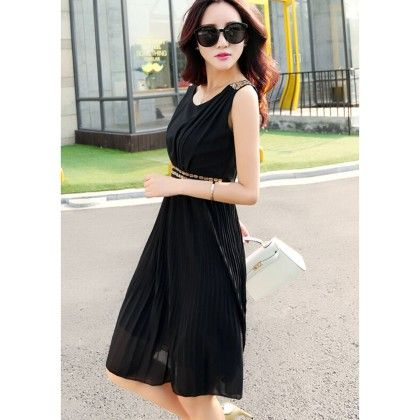 Black - Neck Pleated Dress - Dell's World