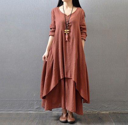Women Elegant Loose Dress Cotton Linen - Red - STUPA FASHION