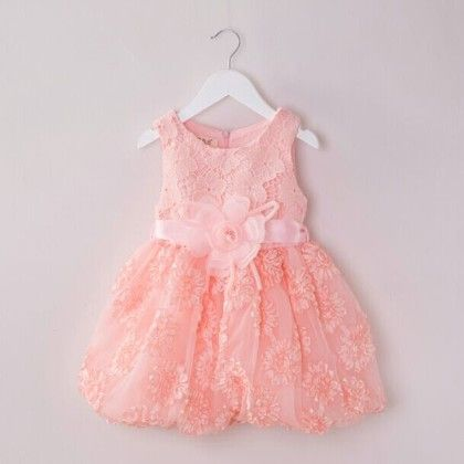 Pink Floral Bow Tutu Dress Children Birthday Party Wear - Tulip