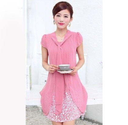 Casual Dress Ladies Female Print Floral Dresse - Melon - STUPA FASHION