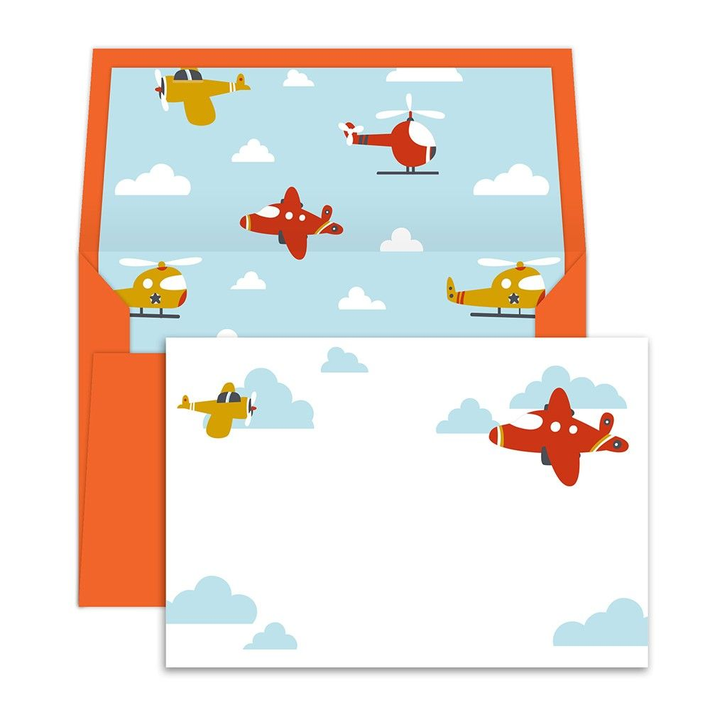 Notecards With Envelopes Flying Plane - Dots & Doodles
