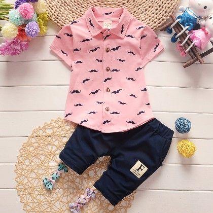 Smart Printed Shirt And Pants Set - Pink - Bohuana