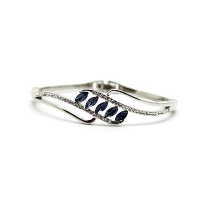 Silver Plated Bracelet With Blue And White Stones - Eternz