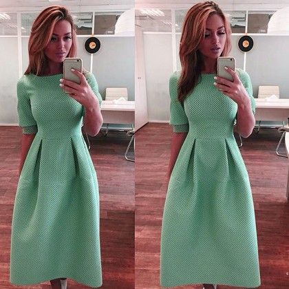 Cute High Waist Umbrella Dress Women - Green - STUPA FASHION