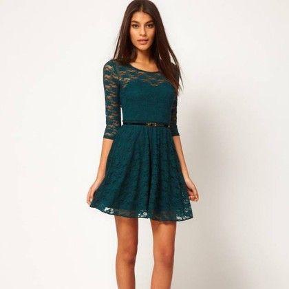 Lace Mini Dress - Green - STUPA FASHION
