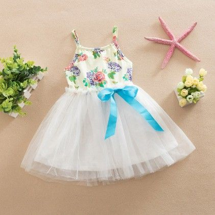 Cute Floral Print Dress With Bow - Blue - Love Baby