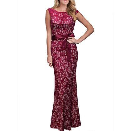 Summer Women Lace Long Dress - Red - STUPA FASHION