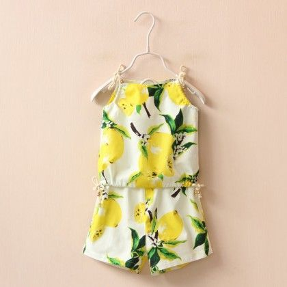 Yellow Fruit Print Top And Shorts Set - Lil Mantra