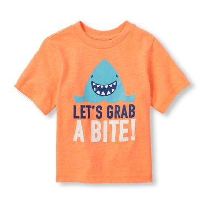 Boys Short Sleeve Lets Grab A Bite! Shark Graphic Tee - The Children's Place