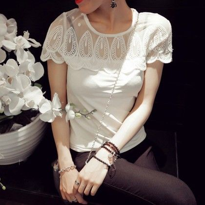 White Color Lace Patchwork Top White - STUPA FASHION
