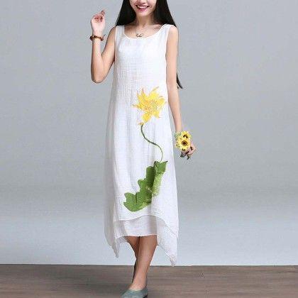 White Linen Sleevless Dress - Dell's World