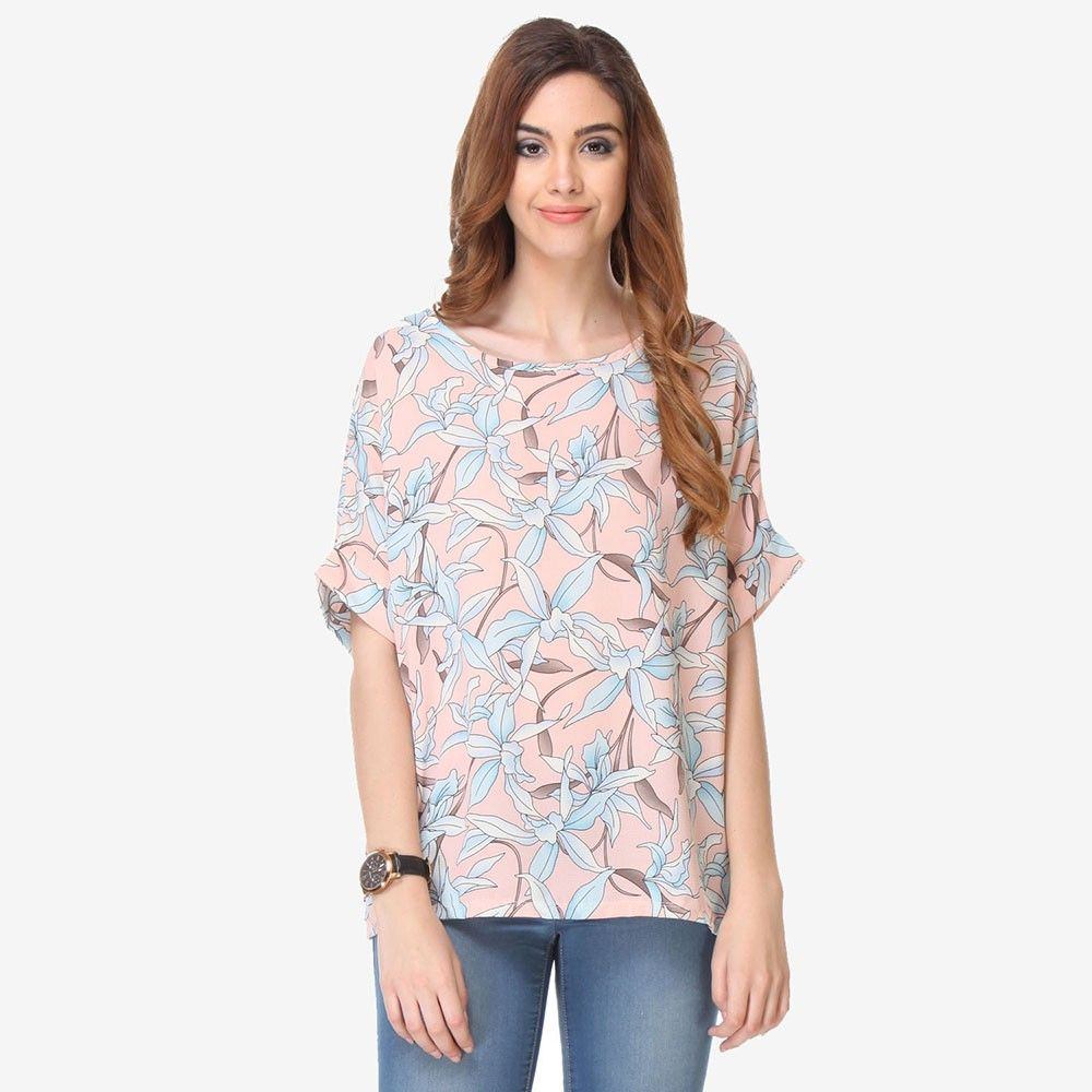 Multi Colored Crepe Printed Top - Varanga - 325725