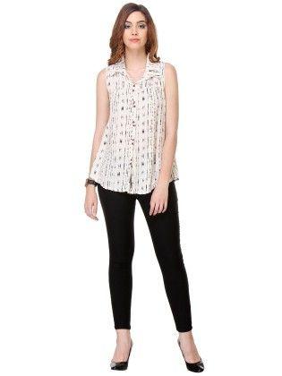 Printed Cotton White Shirt - Varanga