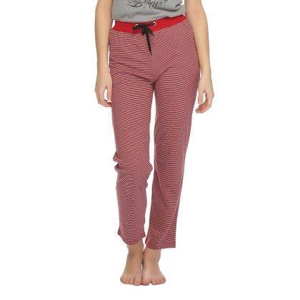 Comfy Printed Pajama With Contrast Waist Band Maroon - Clovia
