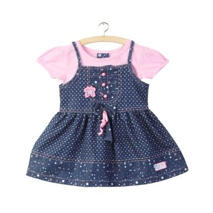 Pink All Over Star Print Denim Printed Frock - La Panache