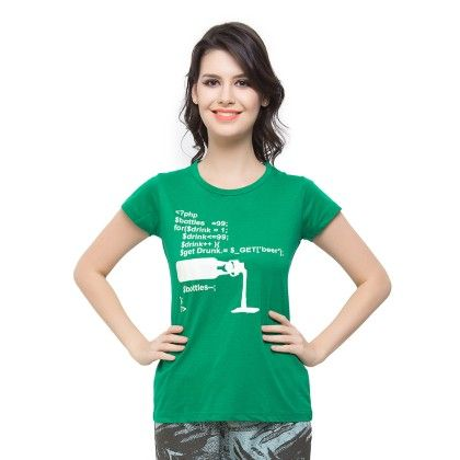 T-shirt In Green - Clovia
