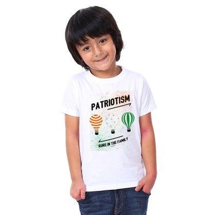 Boy's Patriotism Print White T-shirt - BonOrganik