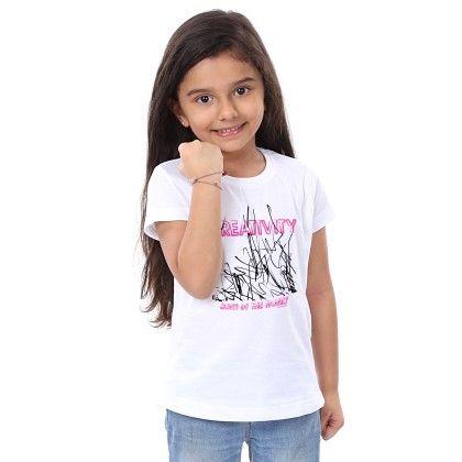 Girl's Patriotism Print White T-shirt - BonOrganik