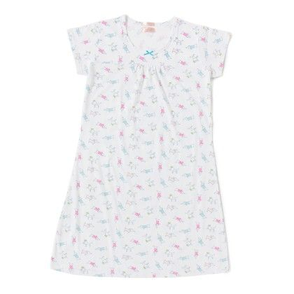 White Printed Knee Length Nighty - Sheer Love