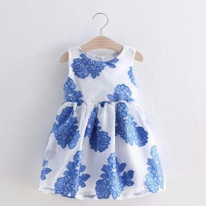 Blue Flower Print Party Wear Frock - Lil Mantra
