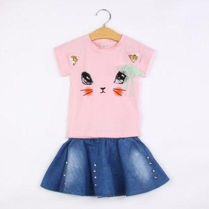 Cute Kitten Eyes T-shirt And Skirt Set- Pink - Belle Maison